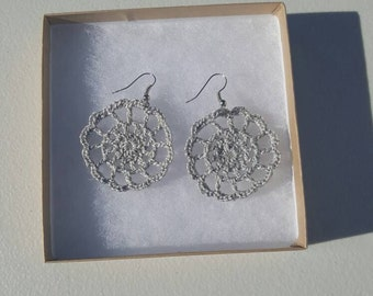 Medallion Earrings in silver sheen with Gift Box, accessories, circular earrings, handcrafted