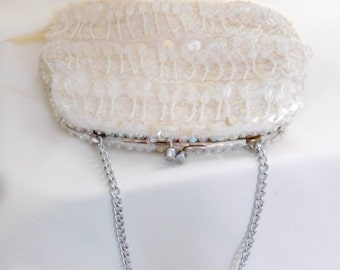 Richere Bag By Walborg, Pearlescent Sequin And Seed Bead Evening Clutch, Made in Hong Kong