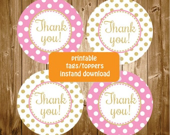 Thank You Gold and Pink Baby Shower Birthday Party Cupcake Toppers Favor Tags Printable Party Supplies Stickers Favor Tags INSTANT DOWNLOAD