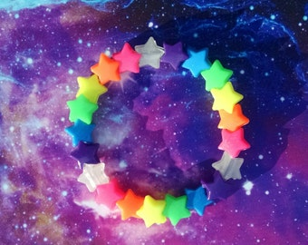 Rainbow Shooting Star Trail Stretch Kandy Bracelet Japanese Street Fashion Decora Glowing Fun