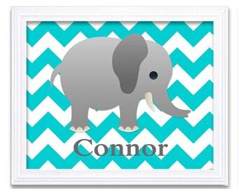 Elephant Nursery Art Nursery Print Custom Personalized Name Baby Art Baby Animal Elephant Blue Print Boys Wall Art Nursery Decor