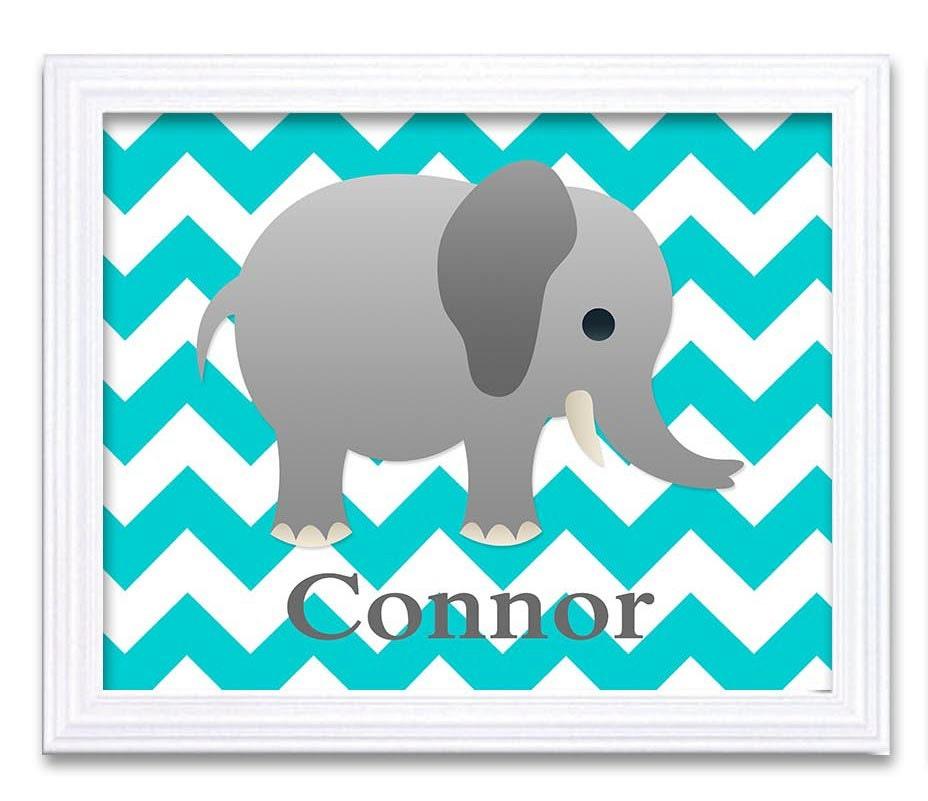 Elephant Nursery Art Nursery Print Custom Personalized Name Baby Art Baby Animal Elephant Blue Print