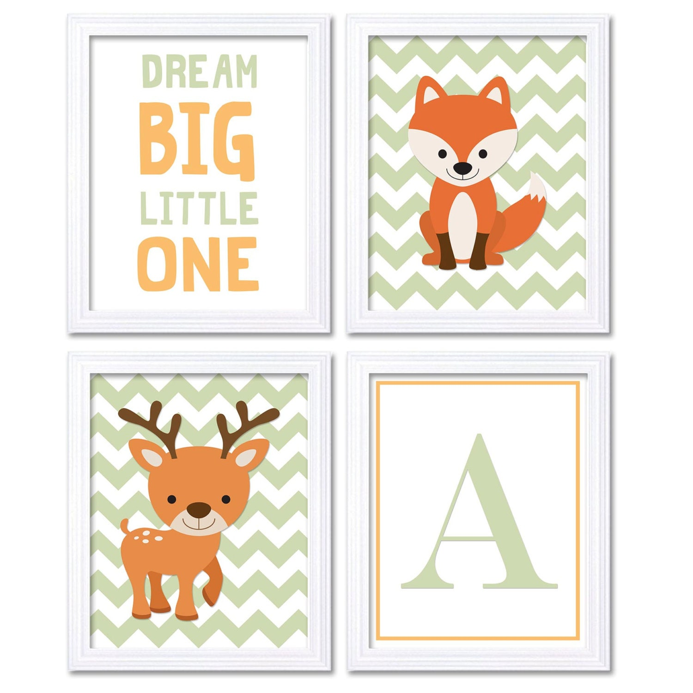 Orange Mint Deer Fox Nursery Art Set of 4 Prints Woodland Dream Big Little One Letter Monogram Child