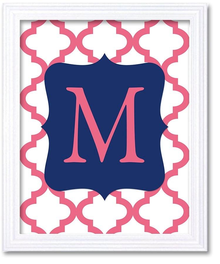 Custom Letter Monogram Nursery Art Quatrefoil Navy Blue Pink Nursery Art Print Decor Child Baby Girl