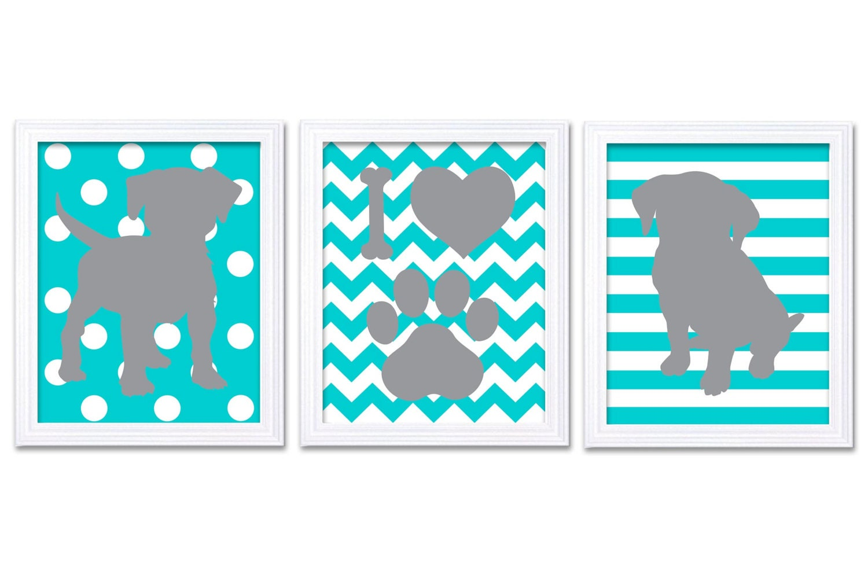 Puppy Dog Nursery Art Puppy Prints Set of 3 Prints Turquoise Blue Grey Stripes Polka Dots Chevron Ba