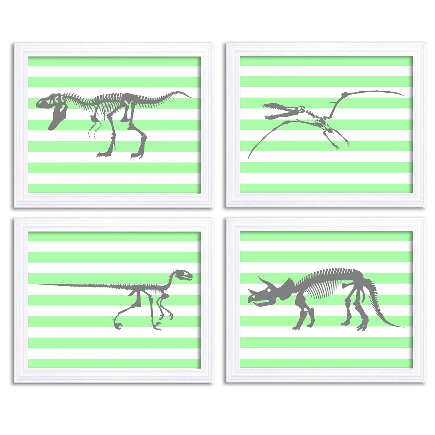 Dinosaur Nursery Art Set of 4 Print Bone Skeleton Mint Green Grey Gray Boy Wall Decor Tyrannosaurus
