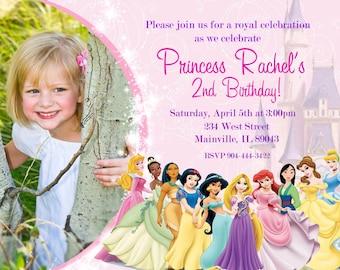 Disney Princess Birthday Party Invitation - Digital File