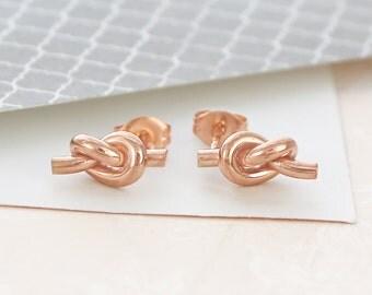 Earrings, Rose Gold Earrings, Friendship Knot, Stud Earrings, Vermeil Earrings, Rose Gold Studs, Classic Earrings, Stud Earrings, Knot Studs