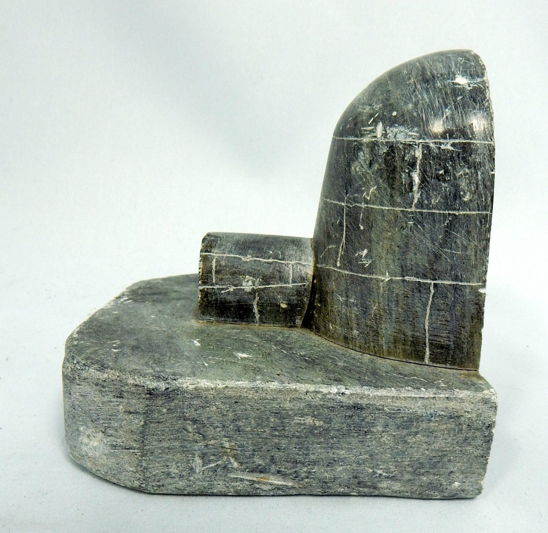 Vintage igloo stone bookend signed dmu hand carved - Igloo vintage ...