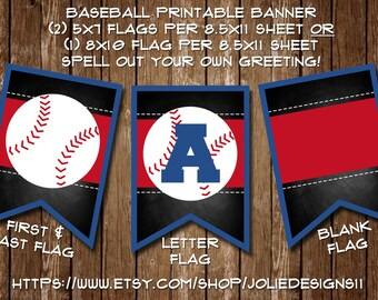 Baseball Birthday Party Decorative Banner - Blue & Red Baseball Flags - Printable - 5x7 or 8x10 - Digital Download