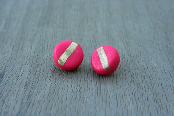 Magenta Round Clay Studs // Gold or Sterling Silver // Bridesmaid // Gifts for Her // Stocking Stuffer