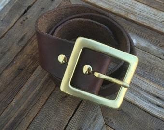 "1.75"" Leather Belt w/Solid Brass Buckle"