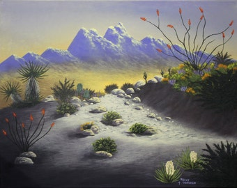 "A Giclee print of a Southwest desert landscape. This print is of my original acrylic painting ""Desert Peak""."