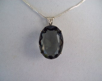 HUGE Sapphire Gray Pendant in Sterling Silver Setting with Chain - 25x18mm