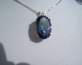 XXL Oval Blue Mystic Pendant in Sterling Silver 25x18 mm