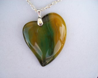 "Green and Yellow Agate Heart Pendant 2-1/3"" long"