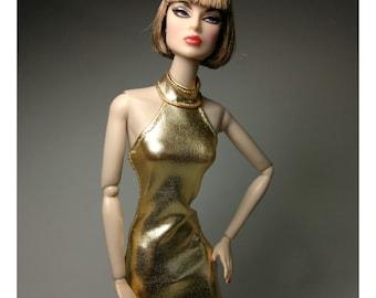Dolls dress for FR,Silkstone,Vintage barbie-Halter Neck- Gold No.746