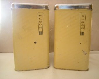 2 vintage canisters-kitchen canisters-flour and sugar-retro kitchen decor-1950's kitchenware-yellow-Lincoln Beauty Ware-