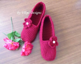 Crochet Slippers, Womens Slippers, Burgundy Indoor Slippers, Red Shoes by Vikni Designs
