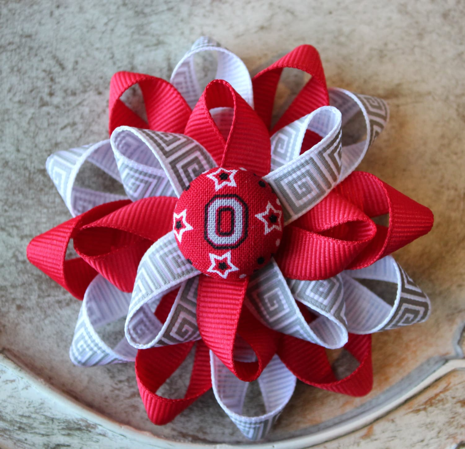 Ohio State inspired Flower Hair Bow Baby Girl Boutique