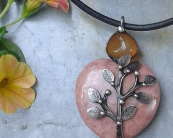 Handmade Rhodochrosite Art Necklace on Leather Cord