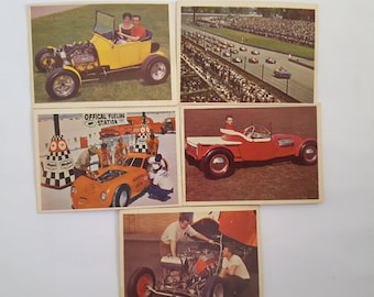 Vintage Hot Rod Magazine collector cards from 1964-65, Indy 500, 1923 Dodge Rod, '32 Ford, Mercury Mill, 5 cards