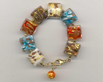 "Murano Glass, Multicolored, Square Shaped, ""Bombata"" Venetian Glass Bead Bracelet; with 24 Kt. Gold or White Gold Foil, &  Aventurina"