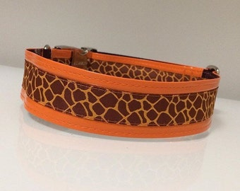 """Orange Giraffe.  1 1/2"""" Faux Leather and Jacquard Martingale or Quick Release Dog Collar"""