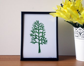 Hand Pulled Tree Screen Print Print A5 - 105x148mm - Dark Green - Print Only