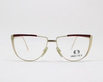 Original 80s flat top stylised cat eye red and gold coloured designer glasses. NOS. Spectacles, frames, clear lens, optical, eyeglasses
