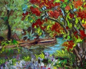 Daisies by the River Bend | Original Plein Air Oil Painting