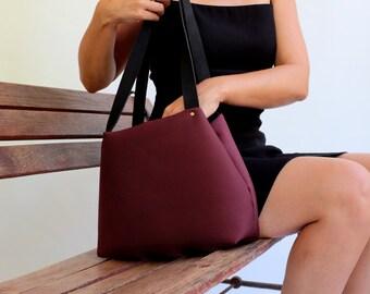Bag small burgundy bag  maroon tote Mikuya Minimum Bags