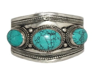 Turquoise bracelet Nepal bracelet cuff bracelet Tibet bracelet Nepalese Bracelet bohemian bracelet boho bracelet gypsy bracelet BR700
