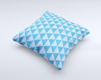 The Vintage Blue Striped Triangular Pattern V4 ink-Fuzed Decorative Throw Pillow