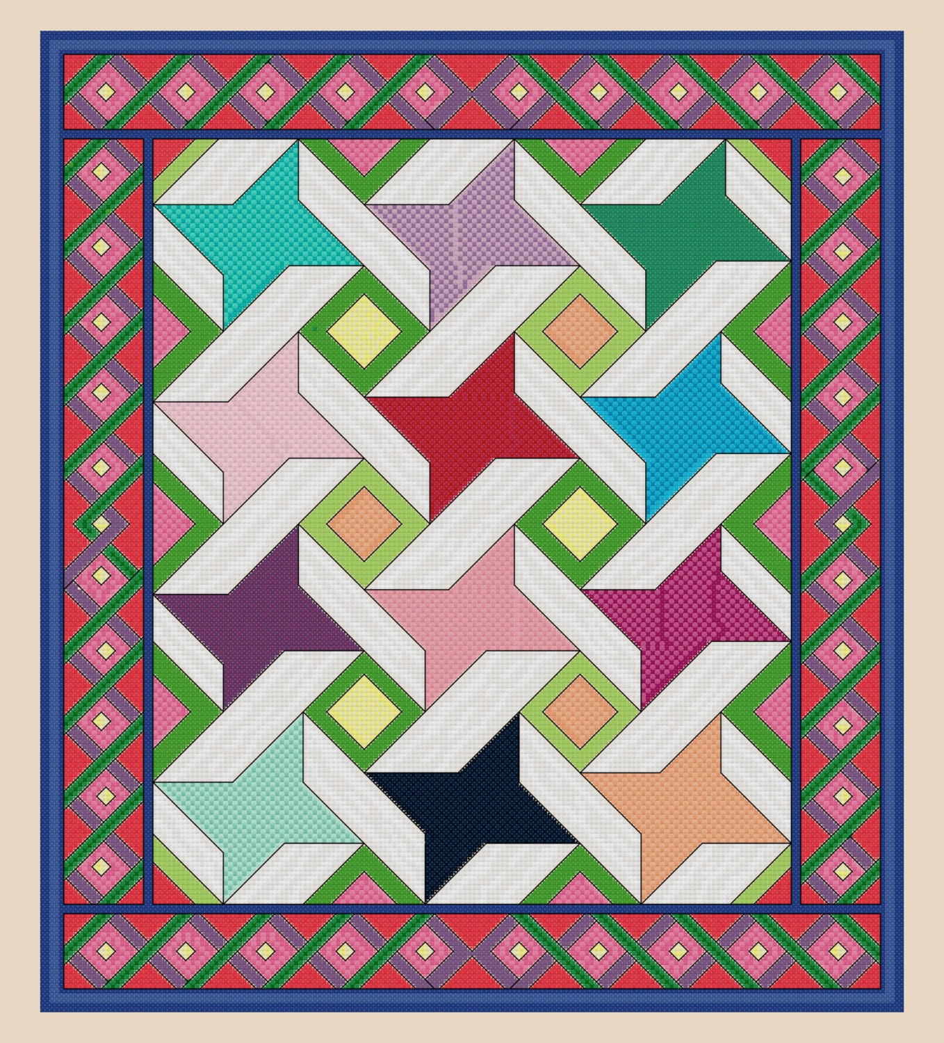 Quilt Patterns Cross Stitch : Cross Stitch Ribbon Star Quilt Pattern Design Chart PDF