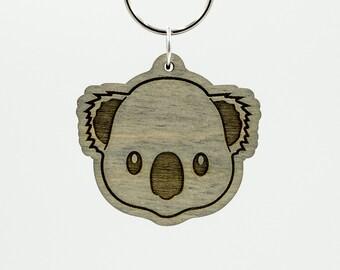 Gray Koala Bear Emoji Keychain - Koala Bear Face Emoji Carved Wood Key Ring - Koala Emoji Wooden Engraved Charm