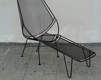 Salterini High Back Lounge Chairs With Footrests Mid Century Patio Furniture 2 - 2 Piece Salterini Sets Woodard Umanoff Keal Metal & Mesh