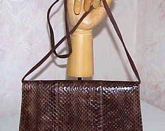 Saks Fifth Avenue Snakeskin Shoulder Handbag or Clutch with Chocolate Brown Suede