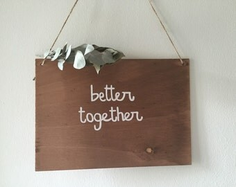 Poster of wood with rope * customizable text * weddings, parties, decoration