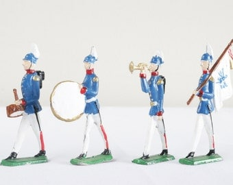 Antique Lead Soldier Figurines. Marching Band Toy Soldiers. Prussian Military Figurines. Father's Day Militaria Gifts For Men.