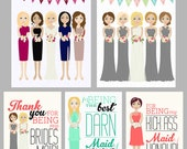 Custom Bridesmaid Illustration Thank You Cards Printable