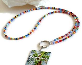 Boho Beaded Lanyard, Beach Lanyard, ID Badge Lanyard, Key Chain Lanyard