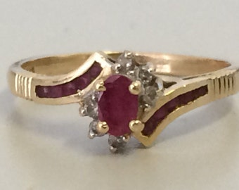 GORGEOUS 14K GOLD Ruby and Diamond Ring Size 8.25