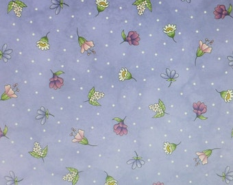 Thyme With Friends~Herb Blossoms on Purple Cotton Fabric, Maywood Studio 8337V,Fast Shipping, F610