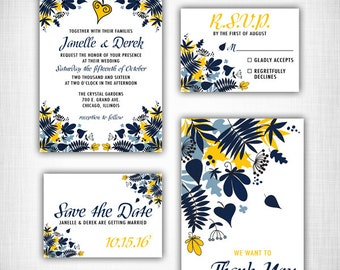 Retro Flower Wedding Invitation Set