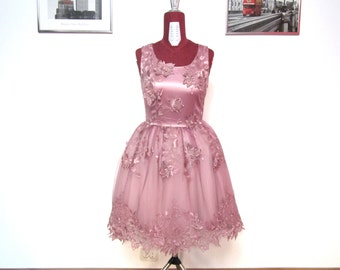 Short Tulle Dress with 3D Embroidered Lace