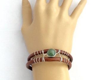 Leather Cuff Bracelet, Brown Leather Cuff, Rustic Cuff, Boho Bracelet, Women's Leather Cuff, Stone Cuff, Rustic Bracelet, Boho Leather Cuff