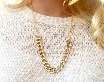 Chain Necklace - Chunky Gold Chain Necklace - Thick Gold Chain Necklace - Gold Statement Necklace