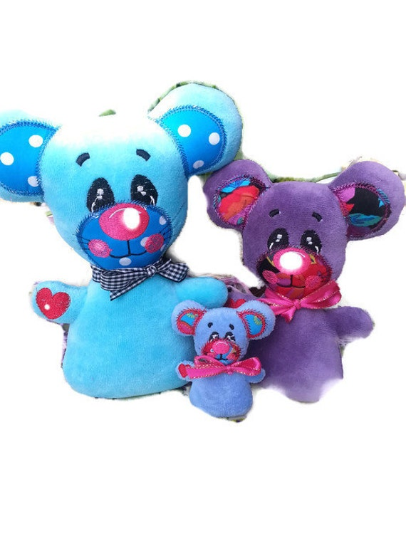 ith embroidery design mouse stuffie softie