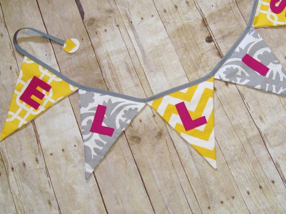 Name Banner - yellow and grey fabric - choose letter color - yellow name bunting
